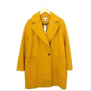 TopShop Carly Over Coat in Mustard Yellow